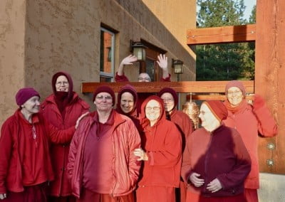 The sangha gather to show their support and love to Venerable Thubten Tsultrim as she departs for Taiwan for bhikshuni ordination.
