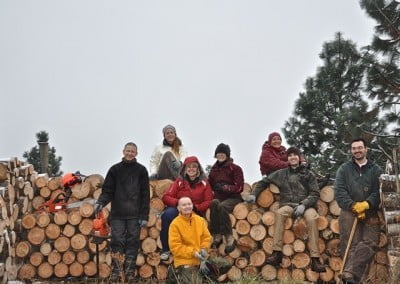 The amazing joyous effort crew after a day of bucking and stacking 2 cords of wood.