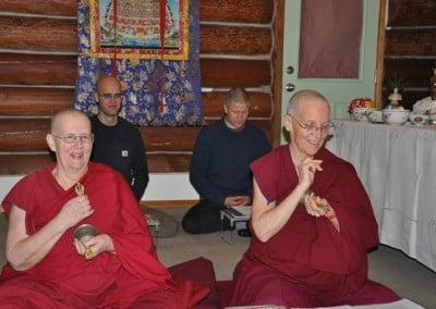 Using dorje and bell, which represent bliss and emptiness,  Venerable Thubten Jigme and Semkye delight in the practice.