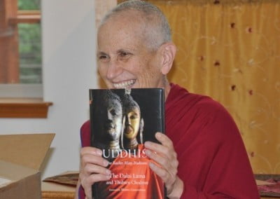 Venerable Thubten Chodron rejoices in the new new books' arrival.