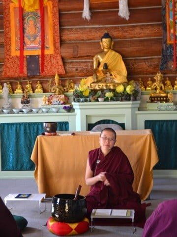 Venerable Thubten Damcho leads her first SDD meditation.