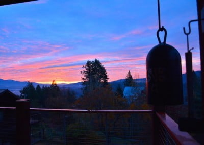 The colors of a fall sunrise streak the sky after our morning meditation session.