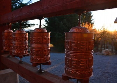 Autumn sunset on the prayer wheels.