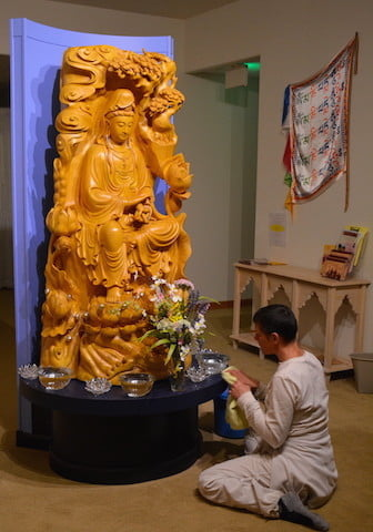 Lana from France makes a beautiful offering to Kwan Yin each day.