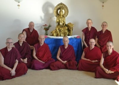 The Abbey community with Kuan Yin.
