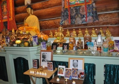 The community does a Medicine Buddha puja in honor of Geshe Sonam <br> Richen, one of Venerable Chodron's teachers, and for Venerable Samten's mother Mavis and cousin Reenie, all of whom recently passed away.