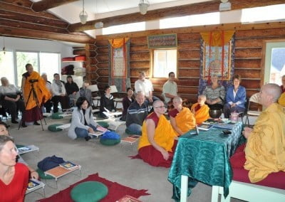 Venerable Chodron connects with the community and friends as she teaches <br> the Dharma with much joy.