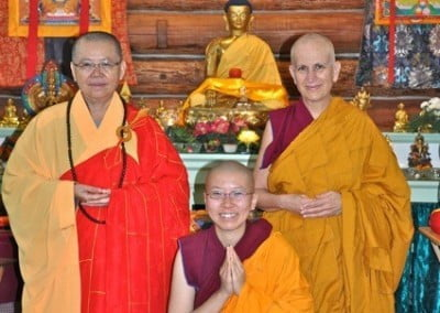 The Abbey's newest shiksamana, <br> Venerable Thubten Damcho poses  with her preceptor and instructor.
