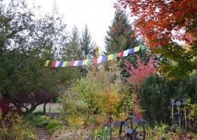 Prayer flags in the garden.