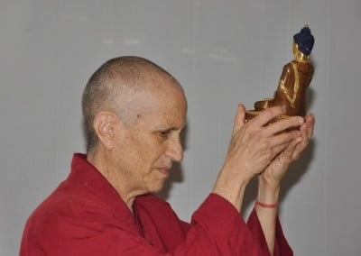 Ven. Chodron and the Buddha bless the new property.