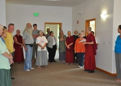 Venerable Tarpa gives a tour to our visitors.