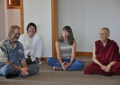 Venerable Chodron spends time with Larry, Joan, and Tracy.