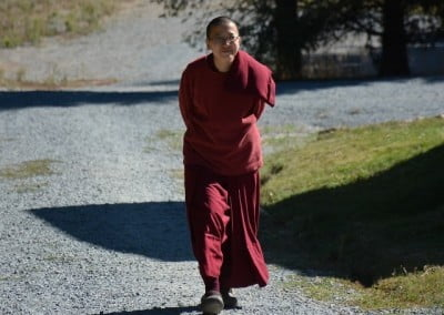Venerable Thubten Damcho takes a stroll.