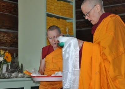We offered a mandala at the beginning and the end of the retreat in appreciation for these wonderful teachings.
