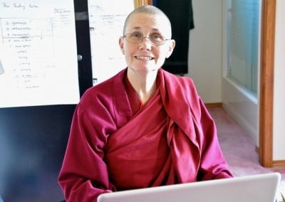 Venerable Thubten Chonyi finds time to study.