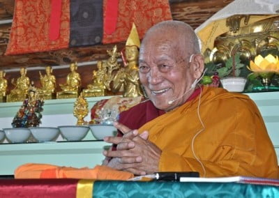 Geshe Thabkhe enjoys himself.