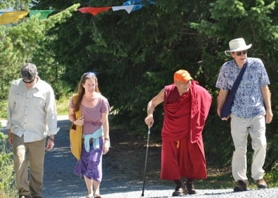 Geshe Thabkhe, Joshua, Nancy, and Frank enjoy being outdoors.
