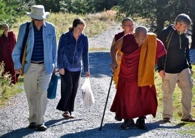 Geshe Thabkhe leads the way to start the teachings.
