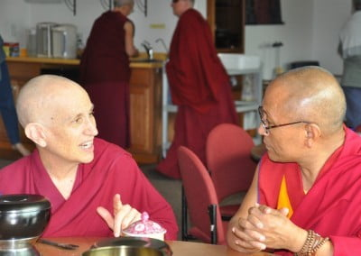Geshe Dadul and Ven. Chodron in one of many Dharma dicussions.