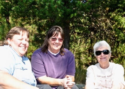 Donna, Dana, and Veda enjoy the sun and the teachings.