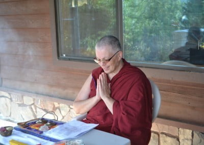 Ven. Yeshe begins an smoke offering practice.