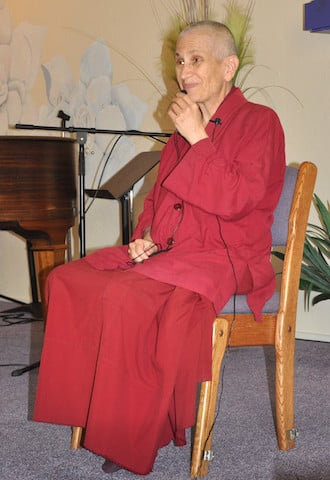 "Ven. Chodron gives a ""Sunday sermon"" at a community church in Sandpoint."