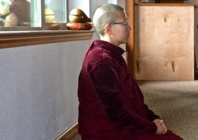 Buddhist nun, Venerable Damcho in meditation.