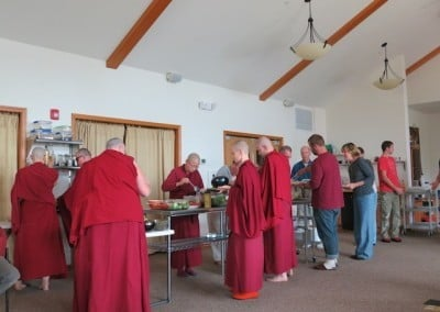 … then we enjoy our meal before getting back to service and meditation.