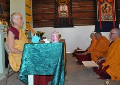 Venerable Chodron sets the motivation before we do the Lama Chopa puja.