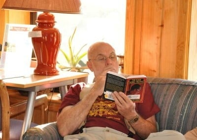 Bill uses the break time to read one of the Buddha's fundamental teachings, <br> the 4 Noble Truths.