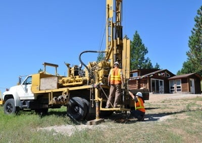 This drilling truck removes a core sample of the soil for the structural engineer. This will ensure that the foundation is built to meet the needs of the soil.