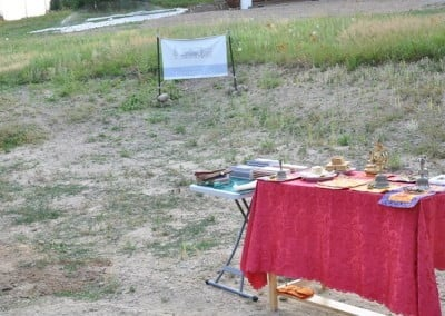 An altar is set on the building site in preparation for the blessing of the land.