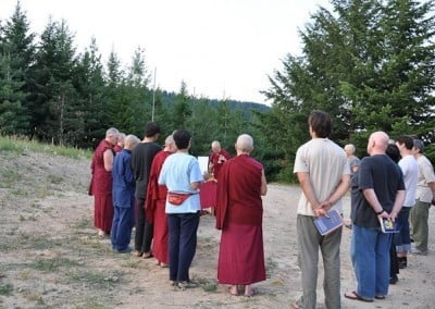 The Exploring Monastic Life participants and guests share in the ceremony.