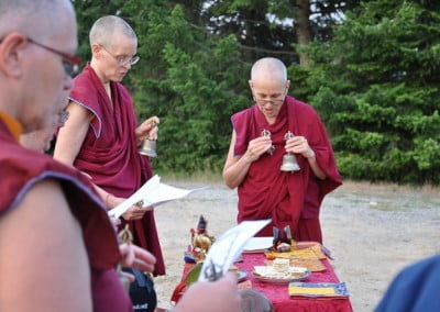 Ven. Chodron leads the practice of welcoming all the beings that live on the land to be well and happy and to support the Abbey's virtuous endeavors.