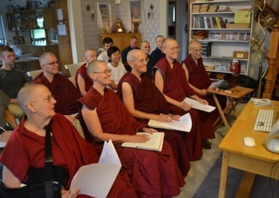 The program participants are receiving teachings on dependent arising from Buddhist scholar, Jeffrey Hopkins via Skype each Tuesday morning.