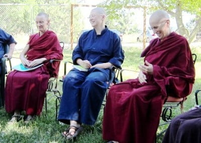 Vens. Samten, Chodron and Katya during the daily group discussion.
