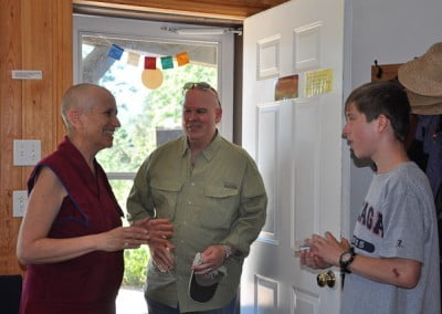 Ven. Chodron welcomes Samten and Yoksha.