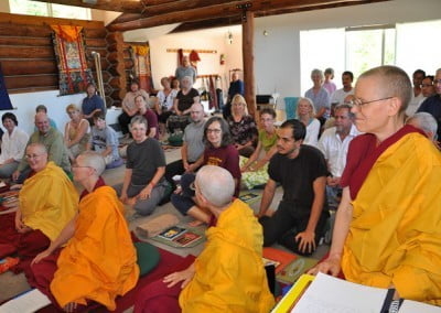 The meditation hall is full as it has been each month lately.