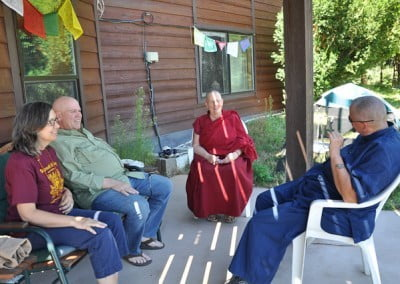 Terri, Nancy, Samten, and Ven Jigme share during the group discussion.