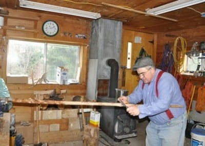 Our good friend Will, who helps us with our forest project, helps out in the workshop.