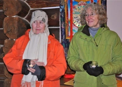 Tracy and Susan are all bundled up on this cold starry night.