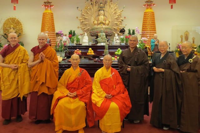 Ven. Losang's ordaining party includes his ordaining master, Ven. Sin Tien.