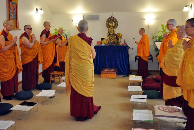 Nuns take part in the ancient rituals of fully ordained monastics.