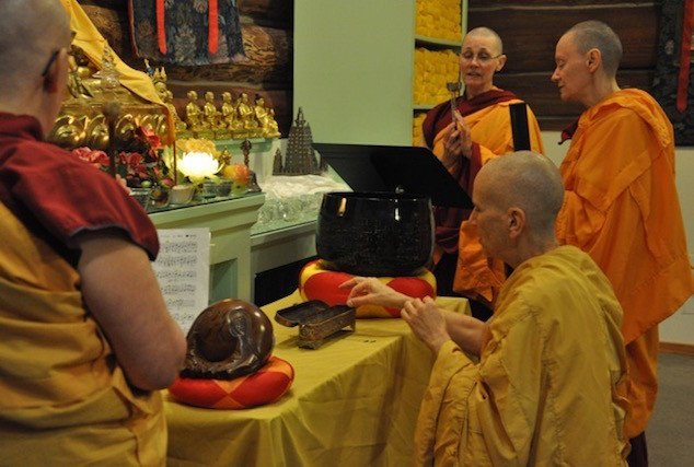Offering incense ceremony in the posadha.