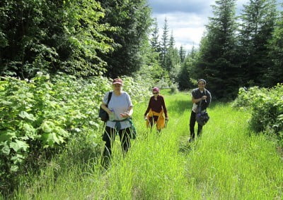 Marga, Jack, and Ven. Samten head back to the Abbey after a morning of pulling knapweed.