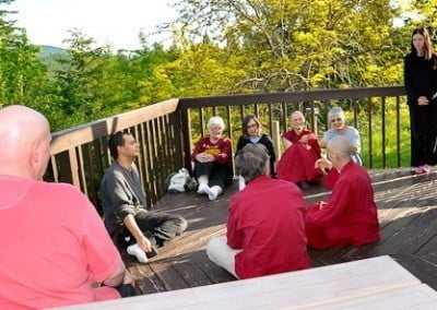 Ven. Chodron and her love of teaching — no matter where or when — attracts a small group after medicine meal one evening.