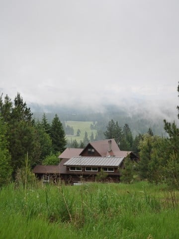 A view of the Meditation Hall among the grasses and trees.