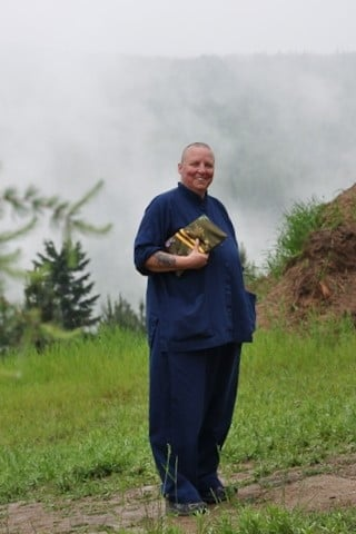 Terri, whose greatest joy is studying the Dharma, pauses on her way to the teachings.