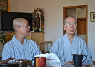 Venerables Jenkir and Jendy sit around the dining room table and share the challenging founding years of their own temple in Taiwan.