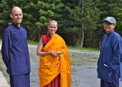 Ven. Jampa with our anagarikas, Stephen and Alicia.